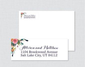 Wedding Address Labels - Floral Return Address Labels for Wedding Envelope, Shabby Chic Personalized Return Address Labels/Stickers 0003-B