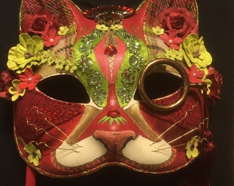 The Sophisticat - pretty jewelled cat masquerade mask - hand painted and embellished, a 'one of a kind' piece.