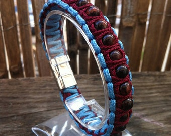 paracord bracelet beads of Red Tiger eye and stainless steel