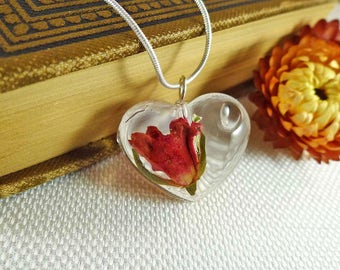 Real Rose Necklaces, Heart Rose Necklaces, Resin Rose Amulets, Small Rose Jewelry, Small Rose Necklace, Dried Rose Jewelry, Rose Amulets