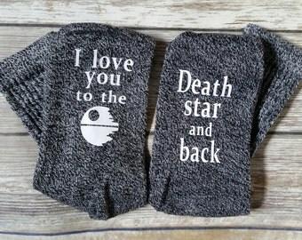 Star wars, Star Wars Socks, Death star socks, Gift, I love you, Fandom, Deathstar, Princess Leia, Han Solo, Love socks, Fathers day gift