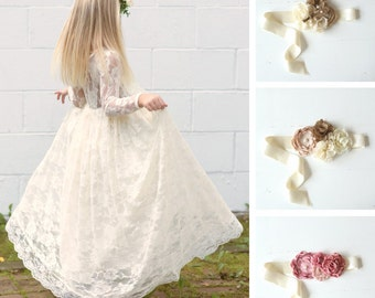 ivory flower girl dress, girls lace dress, country lace dress, rustic flower girl dress, long sleeve lace dress, boho flower girl dresses