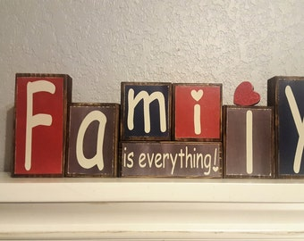 Family is Everything Sign - Religious Sign - Vinyl Letter Blocks - Family is Everything Block set - Family Sign - Scripture Sign - Family