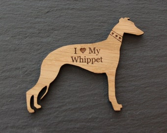 Personalised Wooden Fridge Magnets, Wooden Fridge Magnets, Fridge Magnets, Whippet Fridge Magnet, Whippet Gift, Whippets