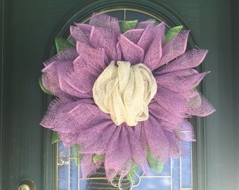 Purple Flower Mesh Wreath