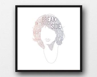 Jim Morrison Typography Portrait Art Print - Jim Morrison Lyrics Art