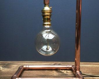 Copper Pipe Retro Industrial Style Pendant Table Lamp, Urban, Chic