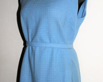 60's PENDLETON Wool Blue Sheath Dress with Side Pockets by Pendleton Woolen Mills Portland Oregon In Great Condition size XL 14/18