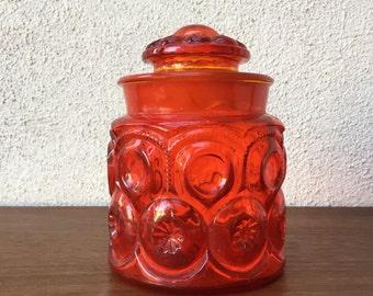 Mid-Century Apple Red Cylinder Carnival Glass Keepsake Vessel