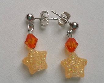 Star Earrings/Orange Sparkling Star Earrings