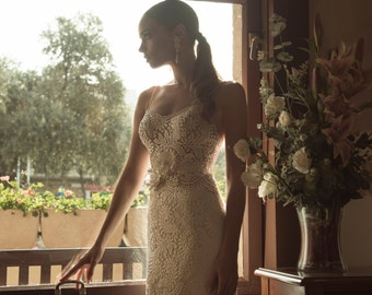 Stunning lace wedding dress by designer Arava Polak with straps top & open round back, lace wedding gown, simple wedding dress, lace dress