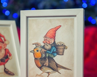 The gnome and the Robin - watercolor painting