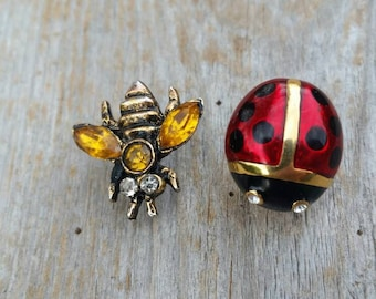 Rhinestone and Enamel Bee and Ladybug Lapel Pins