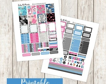 Mini Me Horizontal Printable Planner Stickers/Weekly Kit/For Use with Erin Condren/Cutfiles Mother Fall September  Birthday Mom Glam