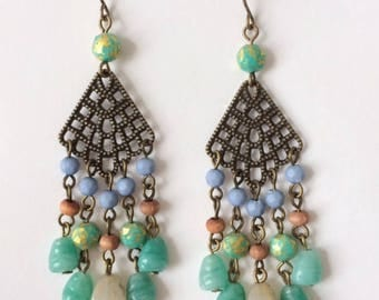 Vintage 1970's Filigree Green Blue Gold Bead Chandelier Dangle Drop Earrings