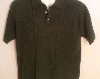 Men's short sleeve green sweater Roos Atkins California vintage