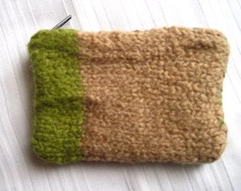 Felt bag Green beige purse mini Pocket zip knit + felting wool