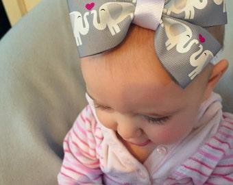 Elephant Love Baby Bow Headband or Hair Clip