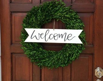 Wreath Sign   Farmhouse Style   Rustic Decor   Home Decor   Welcome Sign   Boxwood Wreath   Fixer Upper Style