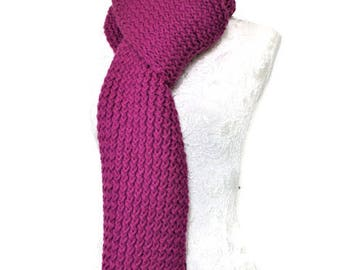 Super Chunky Knitted Scarf // Unique Handmade Scarf // Long Knitted Scarf // Purple Chunky Knit Scarf // Long Warm Womens Scarf