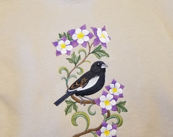 embroidered colorado state bird lark bunting state flower columbine jerzees sweatshirt