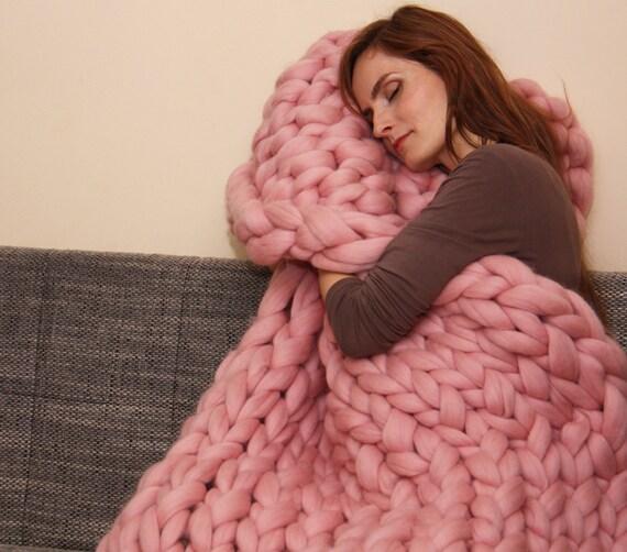Super Chunky Knit Blanket Pattern : Chunky Knit Blanket Blanket Super Chunky Blanket Giant knit