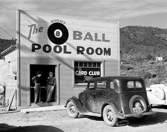 "Pool Room Photograph, ""Eight Ball Pool Room,"" Black White Photography, California, Home Decor, Photo Print, Wall Art, Pool Hall, Billiards,"
