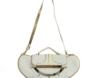 Rare find Fendi white leather shoulder bag