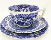 Vintage Spode Blue and White 'Italian' Trio - Tea Plate, Cup and Saucer