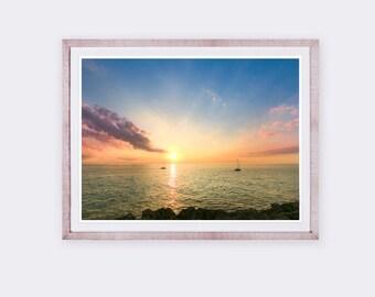 Sunset Photography, Seascape Photography, Nautic Photography, Sailing Ship, Sea, Sunset Sea Print, Ocean Photography Print, Baleares, Spain