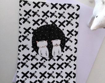 postal card for children : Choumi-Michou in the night