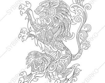 Heraldic lion Etsy