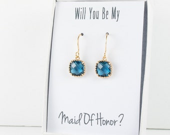 Navy Gold Earrings, Navy Blue Square Earrings, Blue Gold Earrings, Bridesmaid Jewelry, Bridesmaid Earrings, Navy Wedding Jewelry