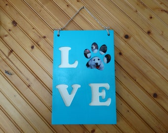Love,Sign, Painted Wood, Paw,Print, Picture,Pet Love,Pawprint, NH made, Dog Paw Print, Cat Paw Print, Mothers day, Turquoise Blue, White,