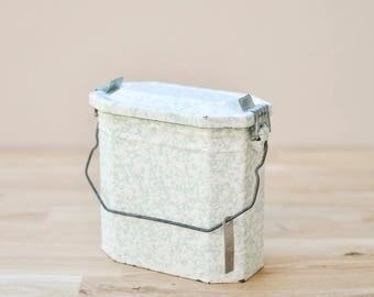 French Enamel Lunch box, French Enamel Lunch Pail, Lunch box, Vintage enamel, Floral Vase, Flower vase, Enamel Vase, Green Enamel