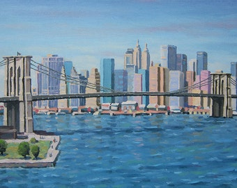 Original Oil Painting New York,  Brooklyn Bridge, Oil painting Cityscape, Handmade, Painting New York