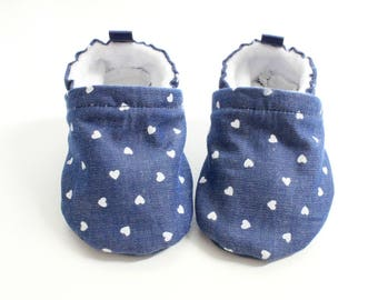 i heart you denim baby shoes, baby shoes girl, soft sole baby shoes, baby booties, baby girl shoes, denim baby shoes girl, heart baby shoes