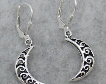 Moon Leverback Earrings - Sterling Silver - 151088