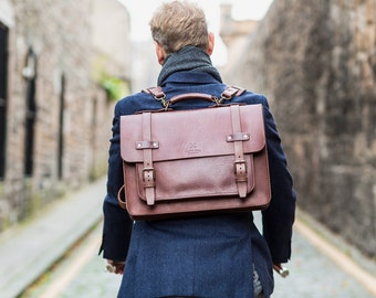 Leather Laptop Satchel, Men's Leather Briefcase, Messenger, Handmade Cross-body Bag, Full Grain Laptop's Bag, Men's Leather Saddle Bag