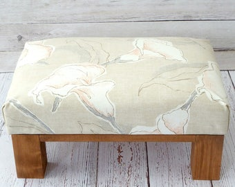 Ottoman - pouf - beige ottoman - small footstool - rustic furniture - beige foot stool - upholstered ottoman - floral ottoman - small bench