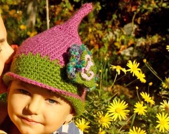 Crochet children pixie hat, violet and green, crochet flower