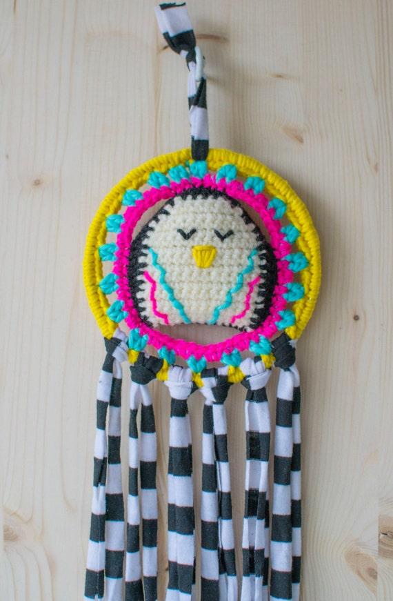 Disco Penguin Crocheted Dreamcatcher