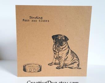 Pug Birthday Card, Pug Thank You Card, Pug Sympathy Card, Blank Pug card, Pug Note card, Dog Card, Dog Party invitation
