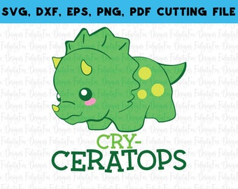 Cry-Ceratops Dinosaur SVG, DXF, EPS,Pdf Png Files for Cutting Machines Cameo  or Cricut Dino svg files, baby svg