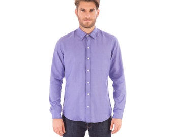 Mens Lilac Linen Mix Long Sleeve Slim Fit Shirt