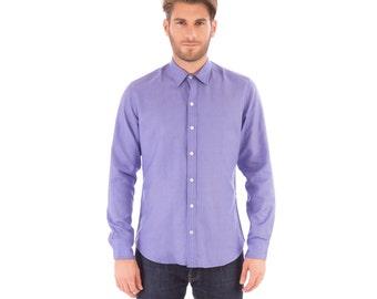 Mens Lilac Linen Mix Long Sleeve Slim Fit Shirt