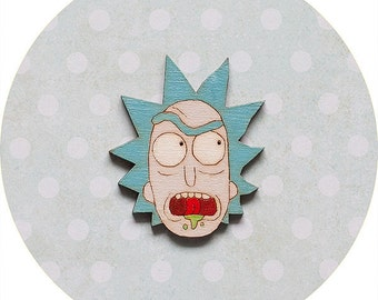 Wooden Brooch Rick and Morty Pin badge Cartoon Network jewelry hipster