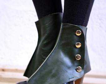 Real Leather Spats - Green - Steampunk, victorian, cosplay, costume, please read description for more information