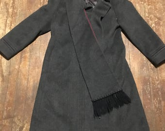 Karen Millen full length Wool and cashmere coat with sewn in scarf