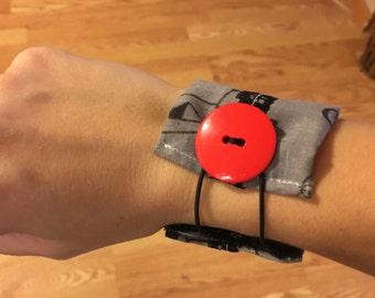 Grey/black printed unique fabric cuff bracelet